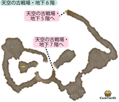 天空の古戦場・地下6階のマップ