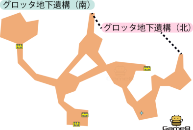 グロッタ地下遺構(南)のマップ(3DS)