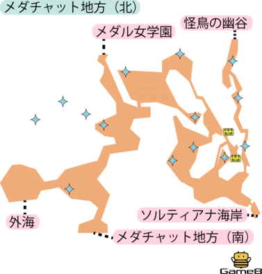 メダチャット(北)のマップ(3DS)