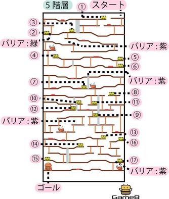 時渡りの迷宮5階層のマップ