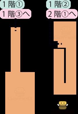 トロデーン城1階①と1階②のマップ