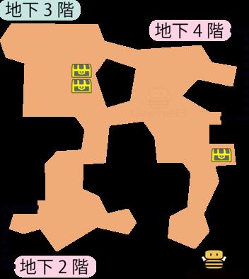 見えざる魔神の道地下3階のマップ