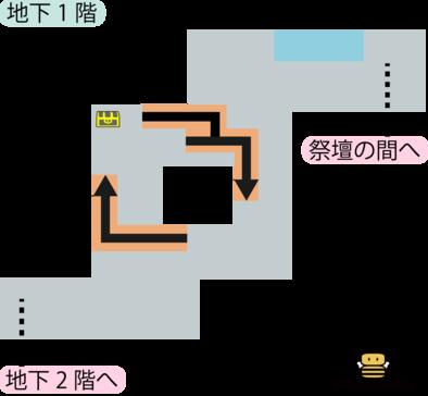 パデキアの洞くつ地下1階のマップ