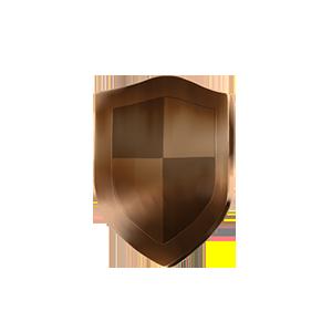銅の盾オブジェの画像