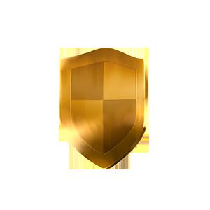 金の盾オブジェの画像
