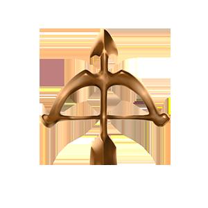 銅の弓オブジェの画像