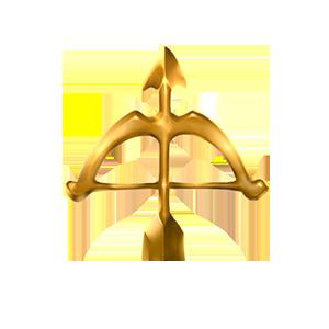 金の弓オブジェの画像