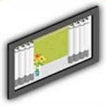 カーテン付き窓の画像
