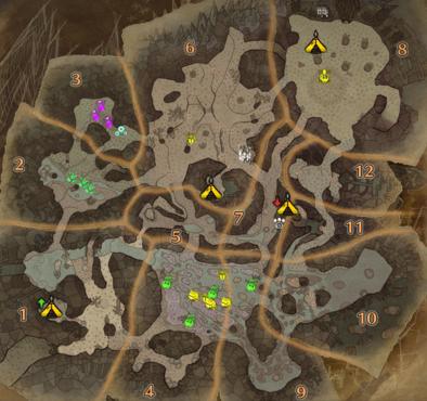 大蟻塚の荒地2層のマップ