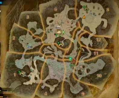 大蟻塚の荒地のマップ