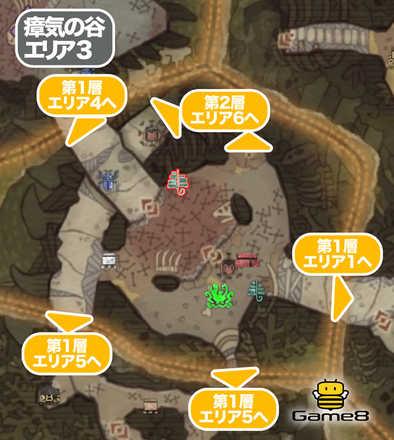 瘴気の谷エリア3のマップ