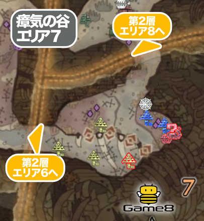 瘴気の谷エリア7のマップ