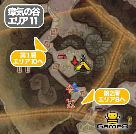 瘴気の谷エリア11のマップ