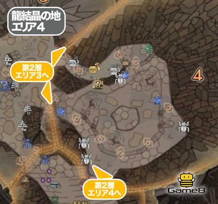 龍結晶の地エリア4のマップ