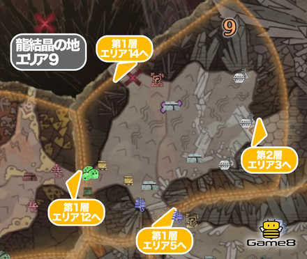 龍結晶の地エリア9のマップ