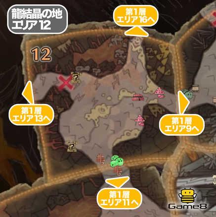 龍結晶の地エリア12のマップ