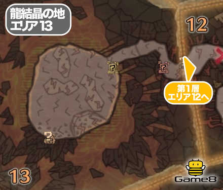 龍結晶の地エリア13のマップ
