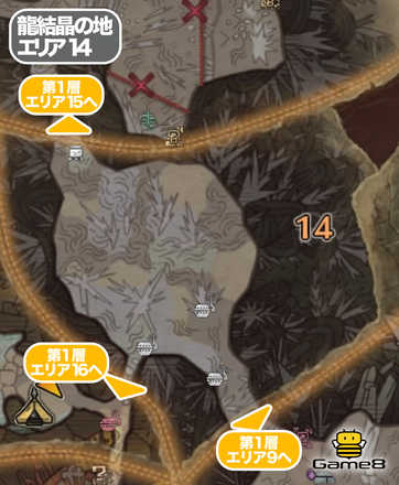 龍結晶の地エリア14のマップ