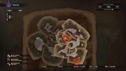 瘴気の谷のキャンプ設営地一覧