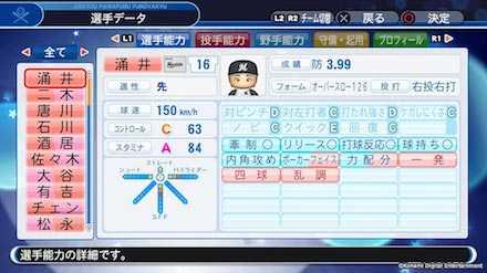 涌井秀章の選手データ画像