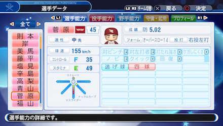 菅原秀の選手データ画像