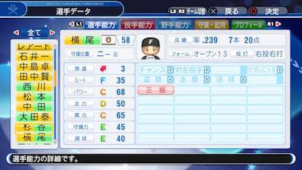 横尾俊建の選手データ画像