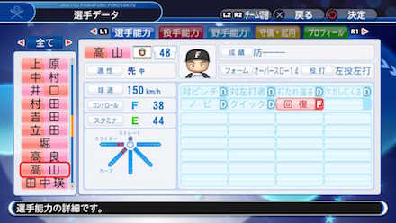 高山優希の選手データ画像