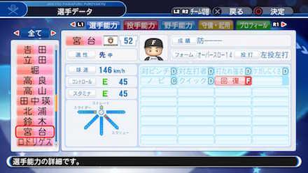 宮台康平の選手データ画像