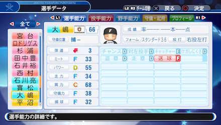 大嶋匠の選手データ画像