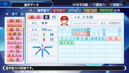 薮田和樹の選手データ画像
