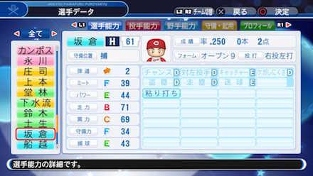 坂倉奨吾の選手データ画像