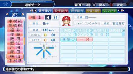横山弘樹の選手データ画像