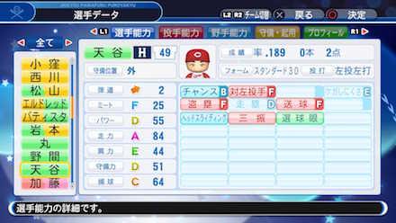 天谷宗一郎の選手データ画像