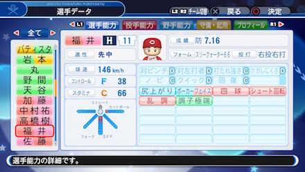 福井優也の選手データ画像