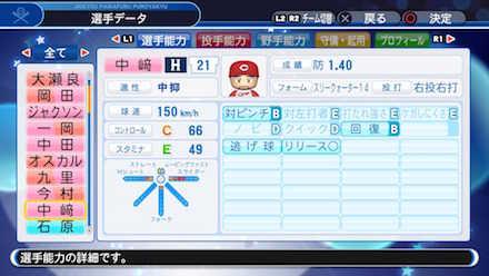 中崎翔太の選手データ画像