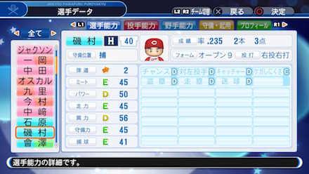 磯村嘉孝の選手データ画像