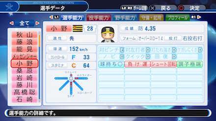 小野泰己の選手データ画像