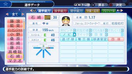 石崎剛の選手データ画像