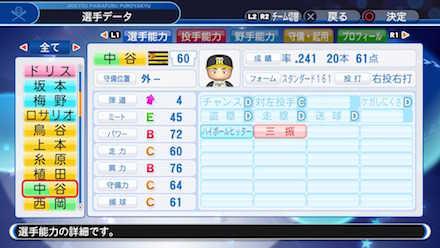 中谷将大の選手データ画像