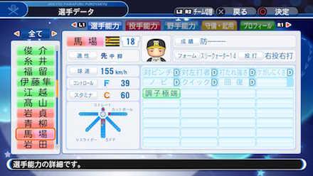 馬場皐輔の選手データ画像