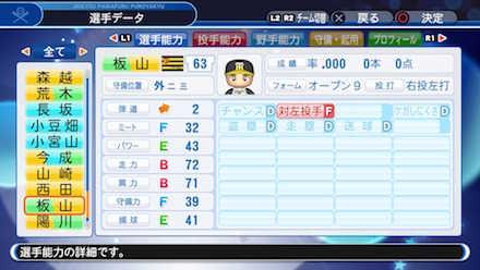 板山祐太郎の選手データ画像