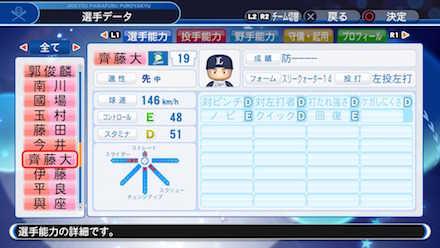 斎藤大将の選手データ画像
