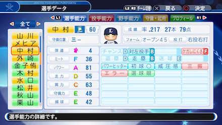 中村剛也の選手データ画像