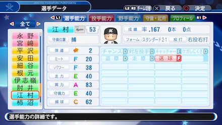 江村直也の選手データ画像