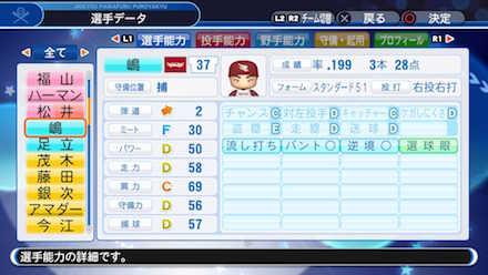 嶋基宏の選手データ画像