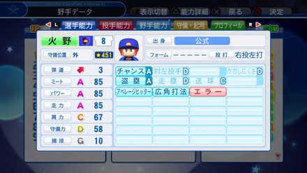 火野勇太郎の選手能力