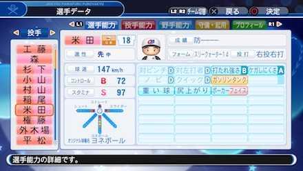 米田哲也の選手ステータス画像
