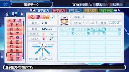佐藤義則の選手ステータス画像