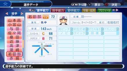 若田部健一の選手ステータス画像