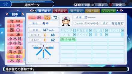 土肥義弘の選手ステータス画像